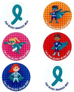 Food Allergy Action Hero and teal ribbon stickers for Food Allergy Awareness Week