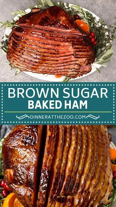 This baked ham is coated in a homemade brown sugar glaze, then cooked until golden brown and caramelized. A super easy holiday ham recipe that is a show stopping main course fit for any special occasion.