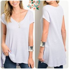 "COMING SOON Flowy Lavender V-Neck T-Shirt Blouse Materials: 65% Polyester, 35% Rayon, Made in the USA   All NWT Retail items in my closet are brand new without tags. Reasonable offers are always welcome. Please use the blue ""Offer"" button to submit an offer. Sorry, I do not trade or take sales off of Poshmark.   Bundle and save! 20% off of two or more items in my closet. Automatically applied at checkout. Boutique Tops Tees - Short Sleeve"
