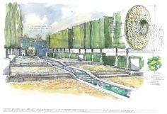 Bespoke garden design ideas: a portal garden sculpture at the end of a water rill