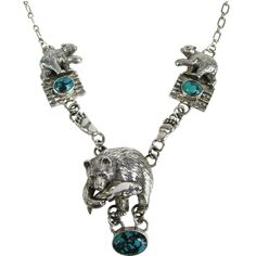 Carol Felly Sterling Silver Turquoise 3-D BEAR Fish Necklace | From a unique collection of vintage drop necklaces at https://www.1stdibs.com/jewelry/necklaces/drop-necklaces/