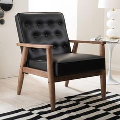 Baxton Studio Sorrento Mid-Century Black Faux Leather Upholstered Accent Chair-28862-6764-HD - The Home Depot