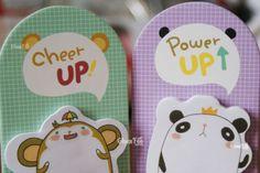"""Papeterie kawaii: Un post-it kawaii d'animaux mignons qui peut rester debout sur votre table~!! Chacun son petit message pour vous dire """"Courage~!"""" quand vous êtes fatigué :) Trop chou ce petit compagnon! ^3^ - www.chezfee.com"""