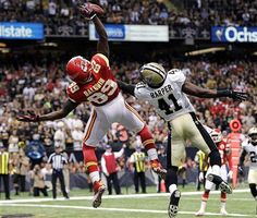 Kansas City Chiefs wide receiver Jon Baldwin (89) leaps unsuccessfully for the ball in the end zone as New Orleans Saints strong safety Roman Harper (41) defends in the first half of an NFL football game in New Orleans, Sunday, Sept. 23, 2012. (AP Photo/Gerald Herbert)
