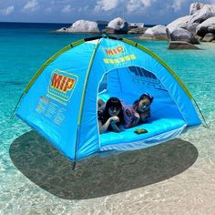 Mokasi® Floating Instant Tent for 4 Person Family with Inflatable Mattress and Electric Air Pump Carry Bag ** To view further, visit now : Hiking tents