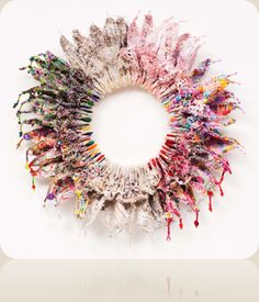 """""""Circle of Life, Modern Woman III, 2011 by mixed-media/textile artist Jill Flower Growth And Decay, Conceptual Drawing, Flower Circle, Collage, Recycled Fashion, Weaving Art, Fabric Manipulation, Diy Embroidery, Textile Artists"""