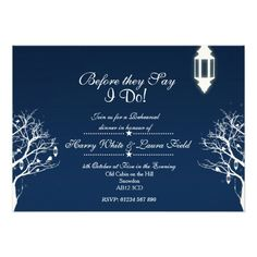 Perfect for both Dinner Rehearsals & Engagement Parties, this sophisticated Winter themed Invite is sure to set expectations for the big day! With beautiful Wintry imagery including lanterns, birds, trees and stars, this card will show your Classy taste and reflect the big day!  For more high-quality Wedding Invitations, Table Nos, RSVPs, Menus & More, check out my store under the 'Wedding Collection' Category!
