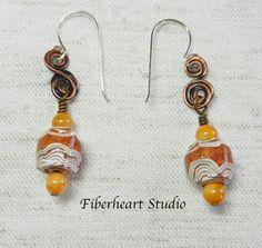 Coiled copper brown carved paper bead earrings by FiberheartStudio, $14.00