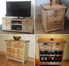 As caixas de madeira que são usadas para transportar as garrafas de vinho da vinícola até o ponto de venda podem se tornar um elemento atrativo para a decoração da sua casa. Feitas de madeira maciça pinus e geralmente com a marca entalhada nas quatro...