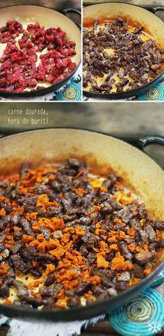 Passo a passo fritada base da paçoca de carne