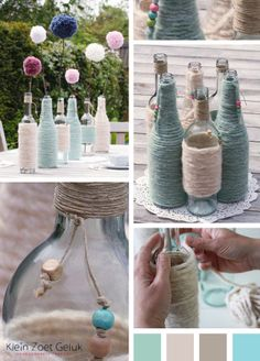 bottle with wool Glass Bottle Crafts, Wine Bottle Art, Jar Crafts, Diy And Crafts, Diy Projects To Try, Craft Projects, Bottles And Jars, Empty Bottles, Recycled Crafts
