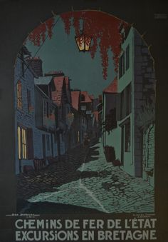 Chemins de fer de l'État - Excursions en Bretagne - Vintage Travel Poster