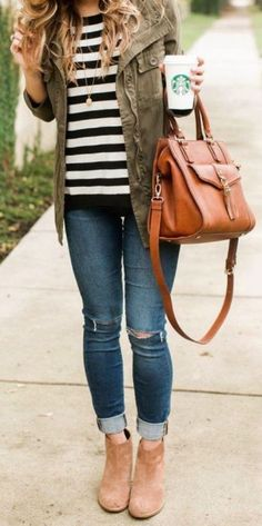 #thanksgiving #fashion · Army Jacket // Striped Tee // Destroyed Jeans // Camel Ankle Boots // Leather Tote Bag
