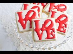 How To Decorate Love Park Cookies, Royal Icing Transfers (+playlist) Galletas Cookies, Iced Cookies, Cupcake Cookies, Cookies Et Biscuits, Onesie Cookies, Owl Cookies, Royal Icing Cookies Recipe, Cookie Icing, Cookie Cutters