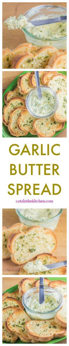 Super easy, cheap, and delicious Garlic Butter Spread- Catzinthekitchen.com