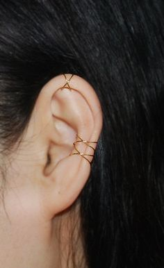 16K gold dipped Twins X ear cuff ,No Piercing Cartilage Ear Cuff, Ear Jacket, Ear Wrap by TakeOnMe7 on Etsy