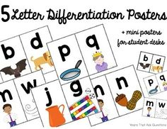 Letter Differentiation & Reversals Posters- b d, m n, g j, m w, p q- Images correspond to Wilson Reading System