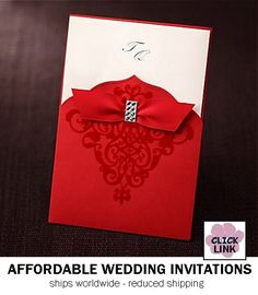 Pocket wedding invitation with ribbon accent