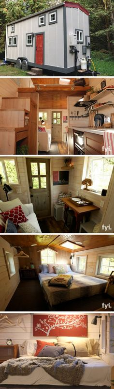 "The ""Barn Chic"" tiny house; a 300 sq ft tiny house on wheels. Featured on Tiny House Nation and now offered for sale! Modern Tiny House, Tiny House Living, Tiny House Design, Tiny House On Wheels, Small House Plans, Tiny Houses For Sale, Little Houses, Tiny House Nation, Loft"