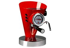 Diva Espresso Maker, Red. As brilliant an expression of modern art as the art of coffee, this boldly styled espresso maker features a 15-bar pump for fast startup time, an easy-to-read gauge and a convenient steam wand for frothing milk. $799