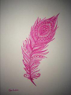 Hippie henna design feather tattoo pink