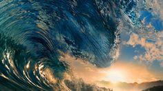 #Water #Waves #Nature #Blue #Sea #Sunset #Sunlight #Wallpaper