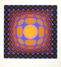 Victor Vasarely Orange and Blue Composition, 1980 Victor Vasarely, Sign Printing, Screen Printing, Op Art Lessons, Optical Illusion Quilts, Optical Illusions, 6th Grade Art, Orange Art, Illusion Art