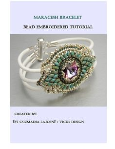 KIT, Tutorial , Bead embroidery ,Beading pattern , Instructions and Material, Maracesh bracelet