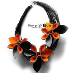 szarości z pomarańczą naszyjnik kwiaty w FlowerFelt Design na DaWanda.com