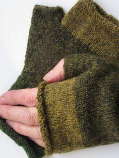 Shetland wool fingerless gloves in shades of green by FankledYarns