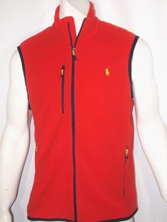 Polo Ralph Lauren microfleece performance men's vest NWT color red NEW on SALE #PoloRalphLauren