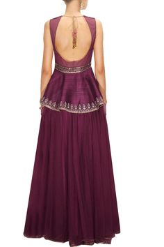 This Maroon embroidered lehenga set features in raw silk top with embroidered velvet yoke, studded waist belt and bead detailing on edges. This Maroon embroidered lehenga set has deep back. This Maroo Lehenga Choli Online, Lehenga Blouse, Sari, Indian Dresses, Indian Outfits, Mode Bollywood, Indian Designer Suits, Kurti Designs Party Wear, Maroon Dress