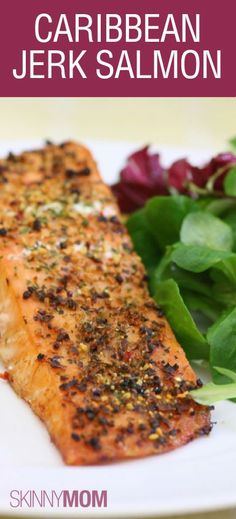 Caribbean Jerk Salmon! Love this high protein dish that is also low calorie and low fat! Tastes are perfect, and family approved!