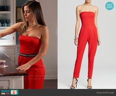 Marisol's red strapless jumpsuit on Devious Maids Fashion Tv, Fashion Outfits, Ana Ortiz, Devious Maids, Cool Outfits, Summer Outfits, Strapless Jumpsuit, Jumpsuit Outfit, Hey Girl