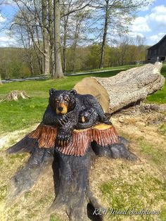 On-site Carvings - RLH Wood Sculptures Chainsaw Wood Carving, Wood Carving Art, Wood Carvings, Morning Wood, Driftwood Sculpture, Tree Carving, Creative Artwork, Raw Wood, Cute Creatures