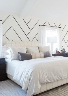 Trademark – Die Wandtapete – Mrs Paranjape Papers – Mitchell Black Home - Wall treatment Feature Wall Bedroom, Accent Wall Bedroom, Master Bedroom Wood Wall, Angled Ceiling Bedroom, Black Master Bedroom, Urban Bedroom, Accent Walls In Living Room, Black Wallpaper Bedroom, Of Wallpaper