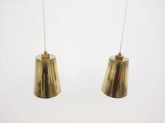 Scandinavian_brass_pendant lamp_pair_cone_Paavo Tynell style_1