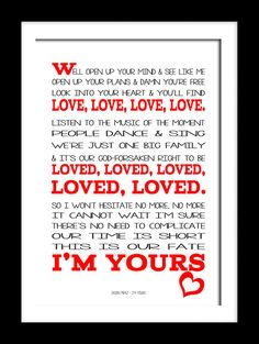 Jason Mraz  I'm Yours. A4 picture mount & Print Typography song music lyric for framing ( No Frame )