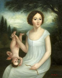 """Young Woman with Cupid"" by Fatima Ronquillo.   We'll have no more of this foolishness, Cupid."
