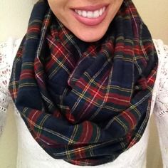 Navy and Red Flannel Infinity Scarf- Plaid Winter Scarf by dAnn