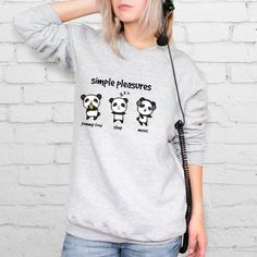 Panda Sweatshirt Cute Women Sweatshirts For Her by YeahProducts