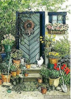 Illustration by Inge Look Hope it's a very special day. Illustration by Inge Look Garden Illustration, Inspiration Art, Oeuvre D'art, Cat Art, Garden Art, Garden Plants, Illustrators, Folk Art, Art Drawings