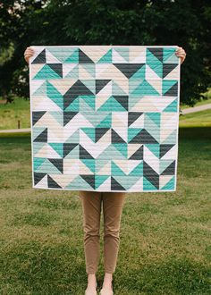 Now Available: Aqua Triangle Baby Quilt