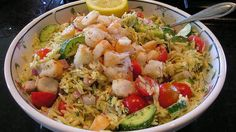 Get Greek Orzo and Grilled Shrimp Salad with Mustard-Dill Vinaigrette Recipe from Food Network Orzo Pasta Recipes, Grilled Shrimp Recipes, Seafood Recipes, Greek Orzo Salad, How To Cook Shrimp, The Fresh, Food Network Recipes, Main Dishes