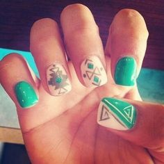 Green white gray native american inspired designs on nails