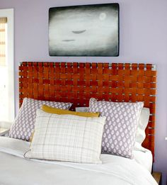 Woven leather headboard, might be cool with recycled seatbelts or...?