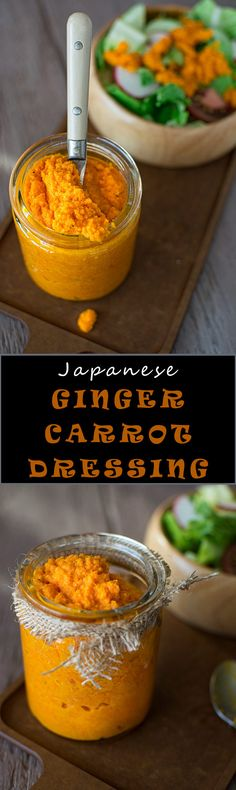 Refreshing Japanese style salad dressing made with carrots and ginger. Just the way you get it at the sushi restaurant! ❤ COOKTORIA.COM