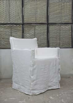 Bemz cover for Nils armchair from Ikea, Loose Fit - Urban style in Rosendal Pure Washed Linen Soft White. www.bemz.com