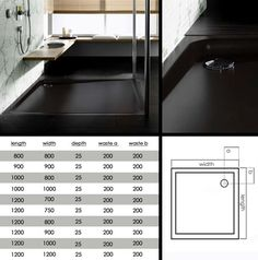 Skinny Black Low Profile Shower Tray (60F)