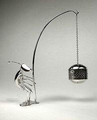 Bug tea infuser, sterling silver tea egg and holder